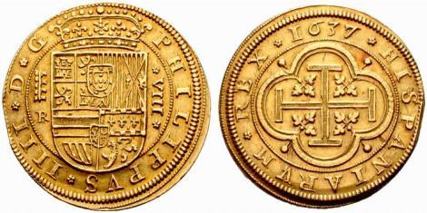 8 Escudos 1637 Segovia R, sobre 1636