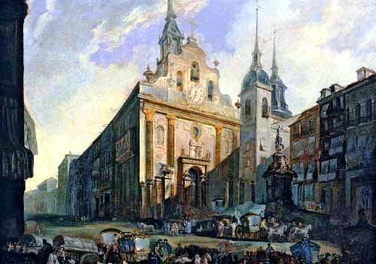 Puerta del Sol hacia 1800. En el centro, la Iglesia del Buen Suceso y, a la derecha, el Convento de Nuestra Señora de las Victorias